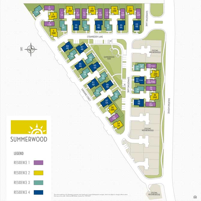 Site Map of Homes at Summerwood in Suisun City CA
